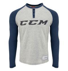 CCM Authenticity Henley Senior Long Sleeve Tee Shirt