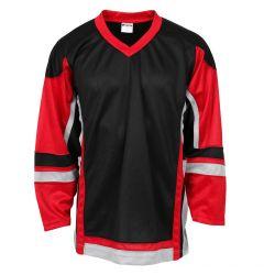 Stadium Adult Hockey Jersey - Black/Red/Gray