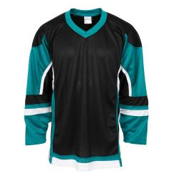 Stadium Adult Hockey Jersey - Black/Teal/White