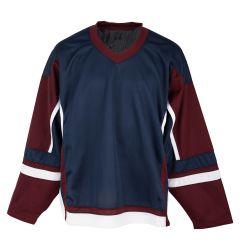 Stadium Youth Hockey Jersey - Navy/Maroon/White