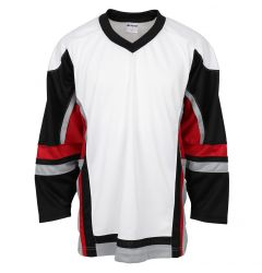 Stadium Youth Hockey Jersey - White/Black/Red