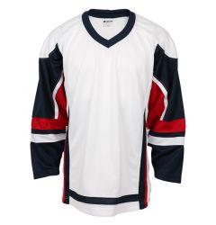 Stadium Adult Hockey Jersey - White/Navy/Red