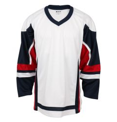 Stadium Youth Hockey Jersey - White/Navy/Red