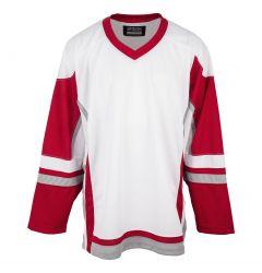 Stadium Adult Hockey Jersey - White/Red/Gray