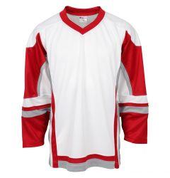 Stadium Youth Hockey Jersey - White/Red/Gray