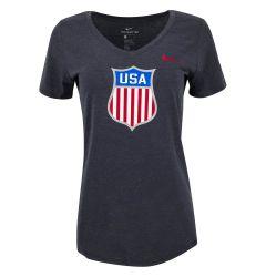 USA Hockey Nike Olympic Women's V-Neck Short Sleeve Tee Shirt