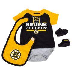 Boston Bruins Reebok Junior League Creeper 3 Piece Bodysuit Set