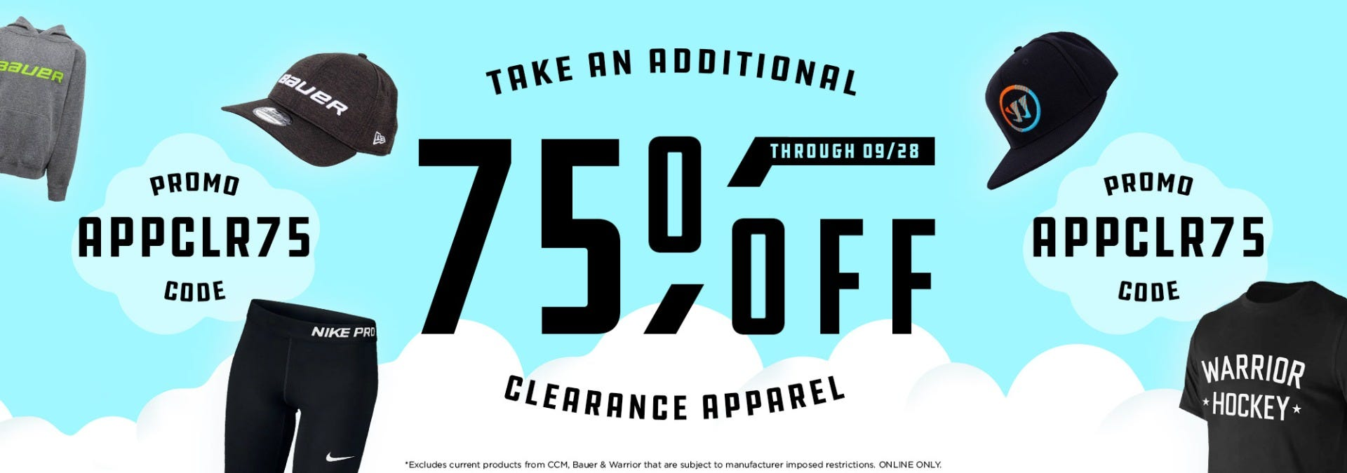 Take an additional 75% off all clearance apparel