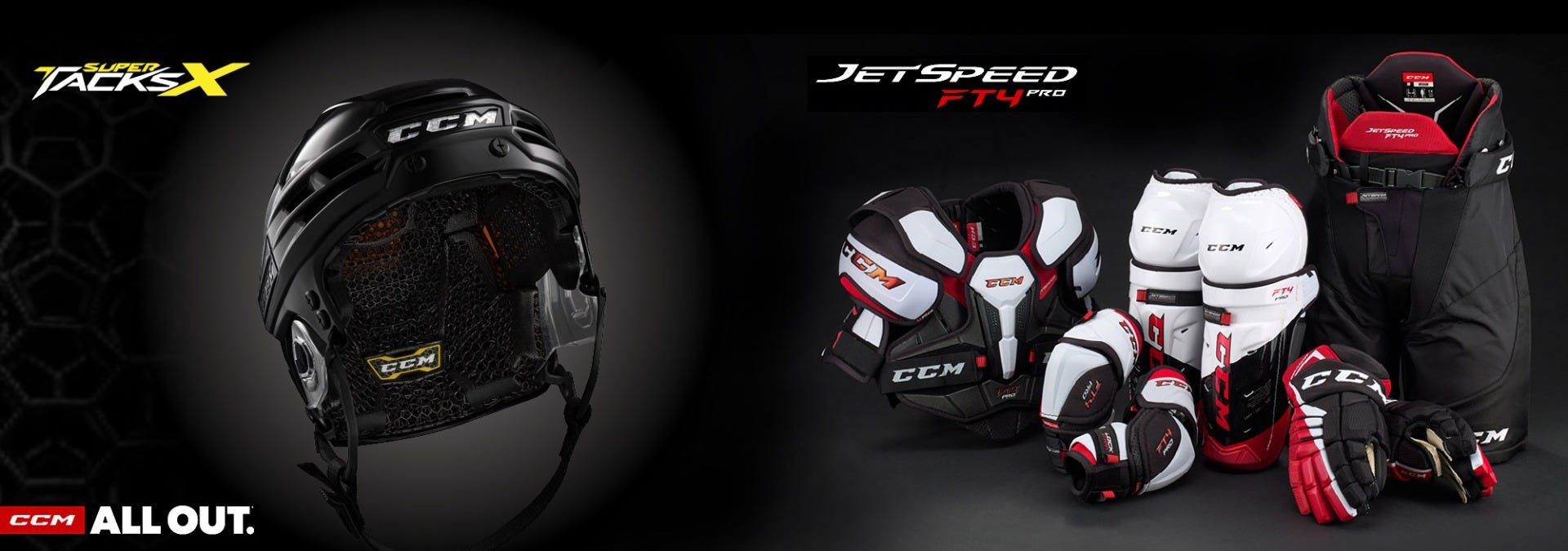CCM Super Tacks X Helmet & JetSpeed FT4 Protective