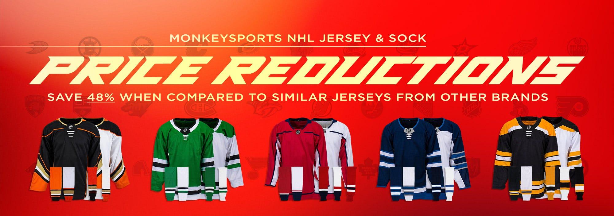 MonkeySports Hockey Jerseys & Socks Price Reductions