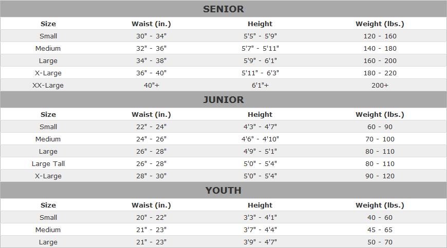 Bauer Hockey Pant Sizing Chart