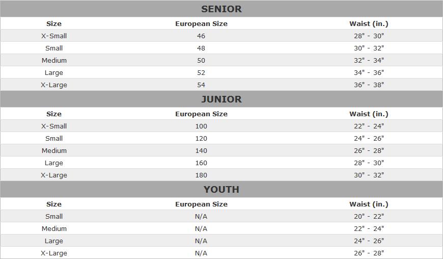 Easton Hockey Pant Sizing Chart