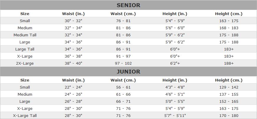 Warrior Hockey Pant Sizing Chart