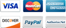 We accept Visa, MasterCard, American Express, Discover and PayPal